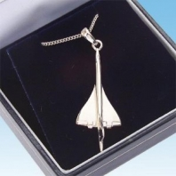 Collier-Pendentif Concorde version nickelée