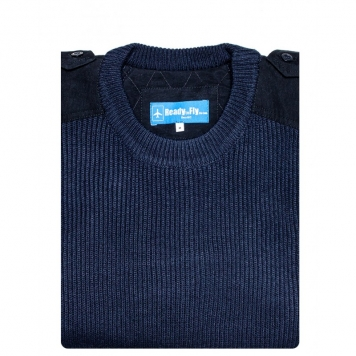 PULL OVER laine col rond manches longues (bleu nuit)