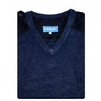 PULL OVER en laine léger col en V manches longues (noir ou bleu nuit)