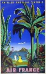 AFFICHE AIR FRANCE ANTILLES AMERIQUE CENTRALE