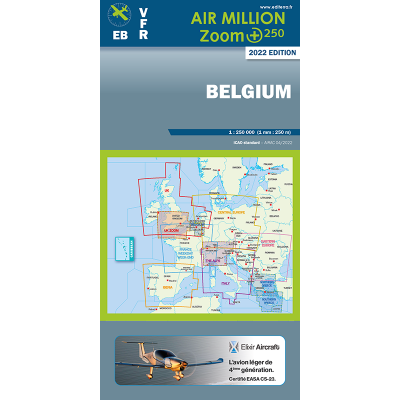 CARTE OACI 2020 AIR MILLION ZOOM VFR BELGIQUE AU 1/250 000