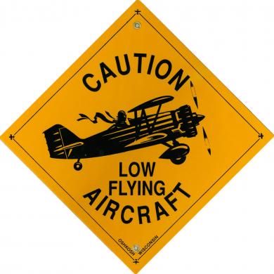Plaque émaillée CAUTION LOW FLYING AIRCRAFT