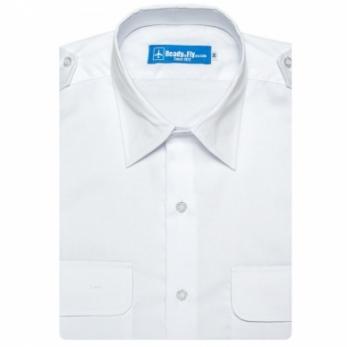 pilot shirt white collar short sleeve