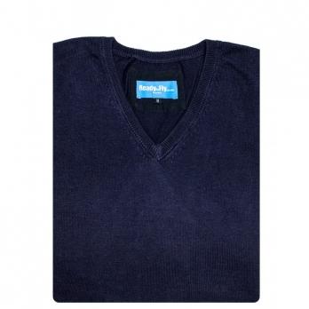 PULL OVER coton col en V manches longues ( noir ou bleu nuit)