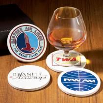 Lot de 4 Sous-verres avec le logo de  compagnies d'aviation historiques
