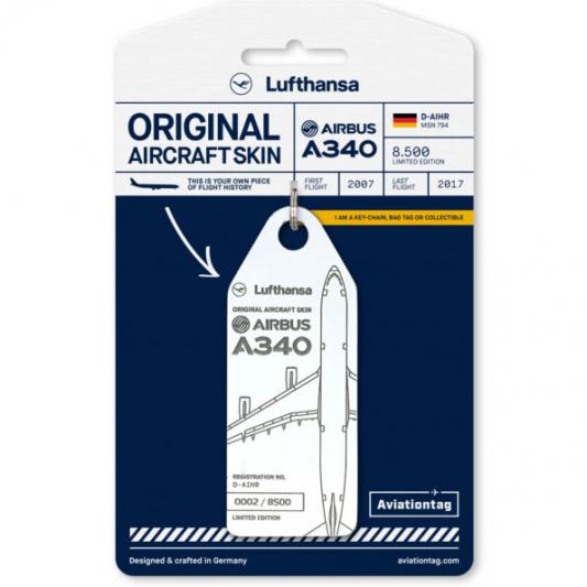 Porte-clé/porte-étiquette AIRBUS A340-600 LUFTHANSA