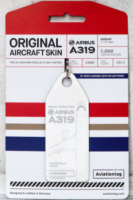 Porte-clé/porte-étiquette AIRBUS A319 N886AP