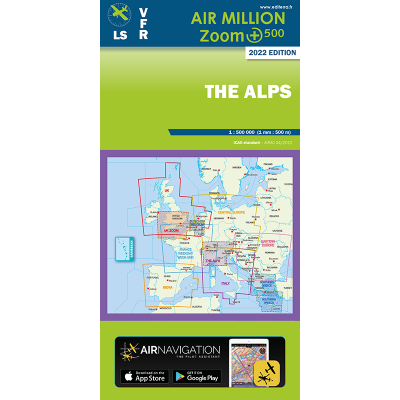 Carte AIR MILLION ZOOM VFR THE ALPS 2020 au 1/ 500 000